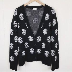 POL Skull Sweater Cardigan Halloween Spooky